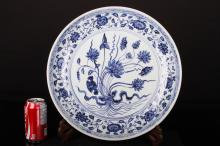 [CHINESE]QING DYNASTY STYLED BLUE AND WHITE PORCELAIN PLATE PAINTED WITH LOTUS BRACH  W:15.75