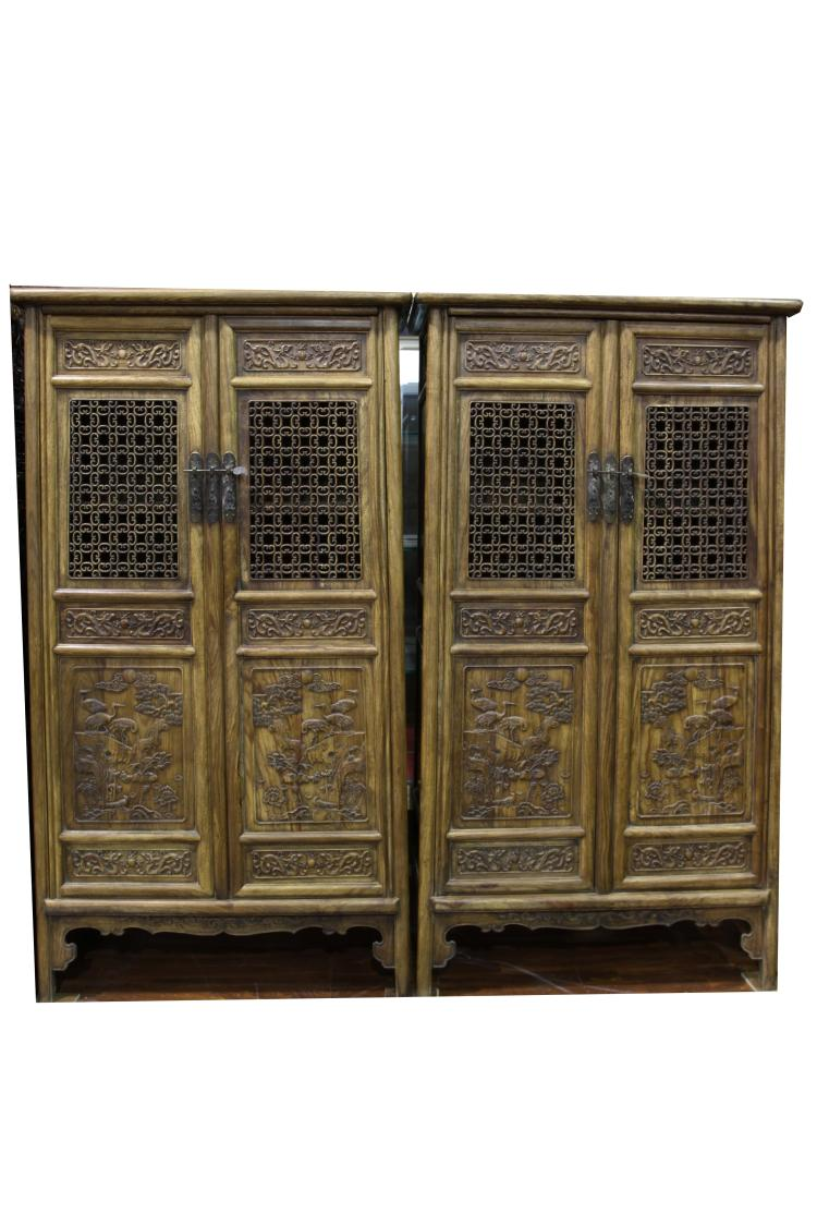 Chinese A Pair Of Qing Dynasty Styled Rosewood Carved Cabin