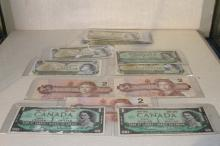 1967  1973  1986 CANADA ONE AND TWO DOLLAR  (17 PIECES)
