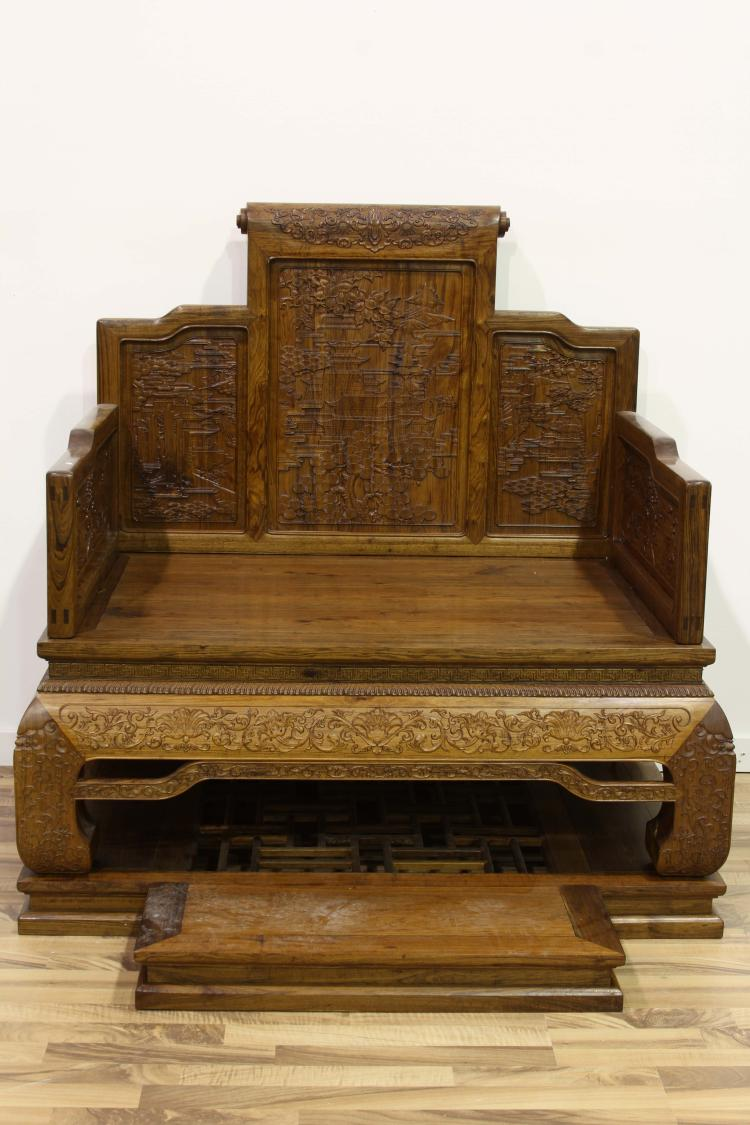 Chinese a late 19th century huanghuali wood carved chair wi for Chinese art furniture