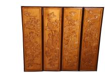 [CHINESE]A SET OF BOXWOOD CARVED SCREEN WITH FIGURES W:9.75