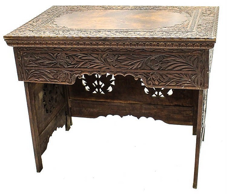 Travel Writing: CARVED TRAVEL WRITING DESK