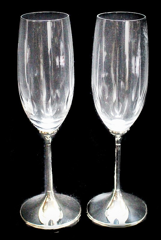 Crystal and silver cava glass set for Cava cristal