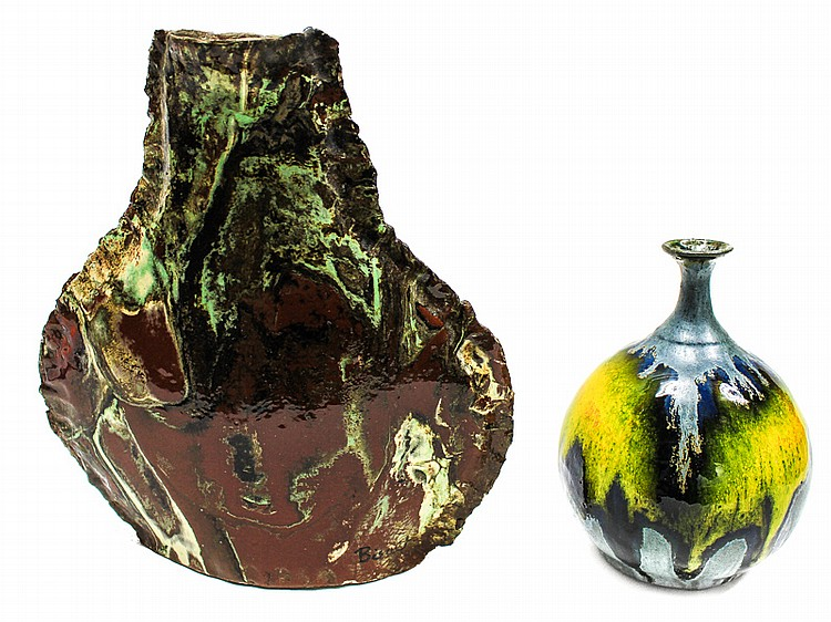 TWO DESIGN CERAMIC VASES