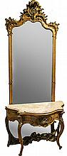 ROCCOCO STYLE SIDE TABLE AND GILTWOOD MIRROR
