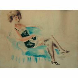 Andre Dignimont (French, 1891-1965) Seated Lady signed, inscribed and dated 1942, watercolour and pen 48 x 63 cm.