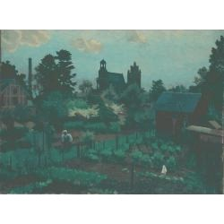 Kenneth Rowntree (British,1915-1997) Allotments at Gisors signed and dated '39, oil on canvas 46 x 61 cm.