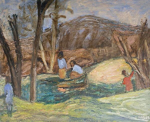 Henryk Gotlib (Polish, 1890-1966) Surrey landscape, 1960