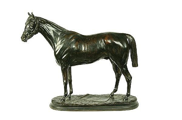 Pierre Lenordez (French, 1815-1892): A bronze model of the stallion Royal Quand cast by Duplan et Salles