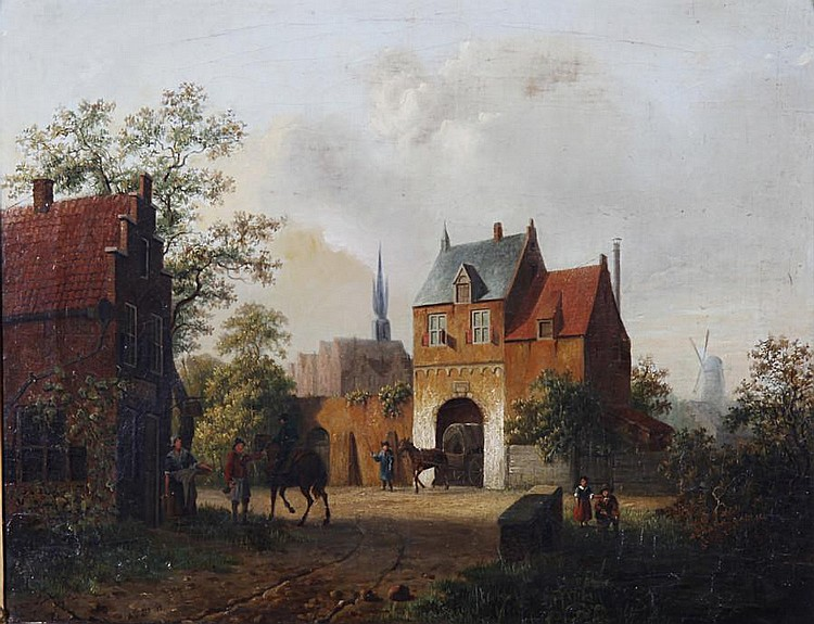 Alexander Salomon van Praag (Dutch, 1812-1865) Horses at the entrance of a town