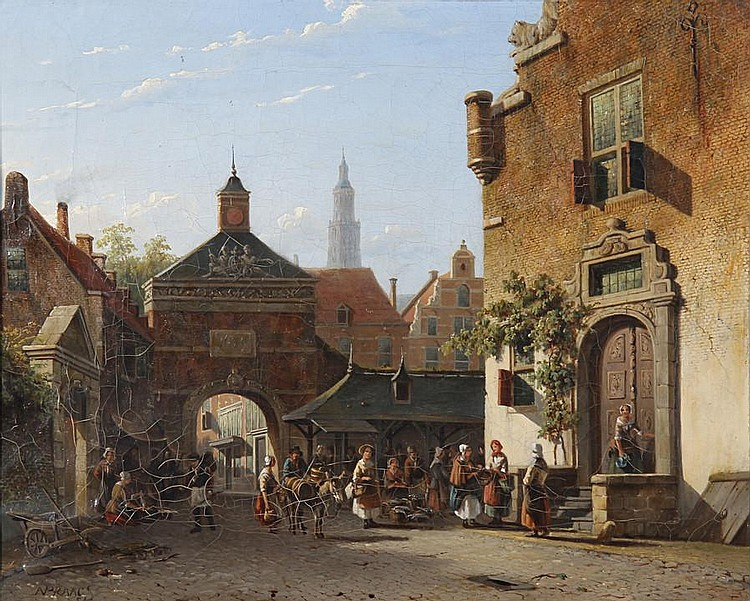 Alexander Salomon van Praag (Dutch, 1812-1865) Busy view of a town
