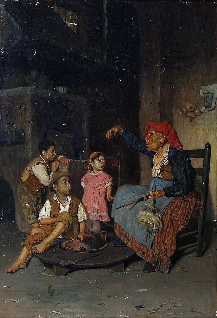 Giuseppe Costantini (Italian, 1844-1894) The storyteller