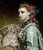 Sir Frank (Francis Bernard) Dicksee, PRA RI (British, 1853-1928) Portrait of a lady with an ivory fan