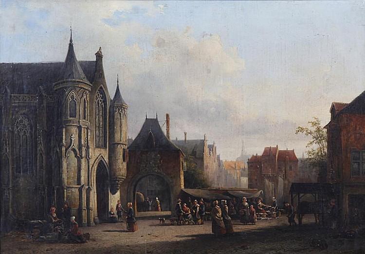 Alexander Salomon van Praag (Dutch, 1812-1865) Market day