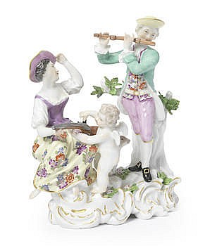 A MEISSEN HUNTING GROUP, CIRCA 1765-70 Modelled by Carl Christoph Punct, wi