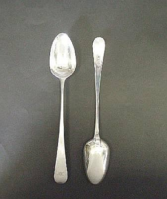 Two George III silver Old English pattern basting spoons, by Stephen Adams, London 1782 / 1783,