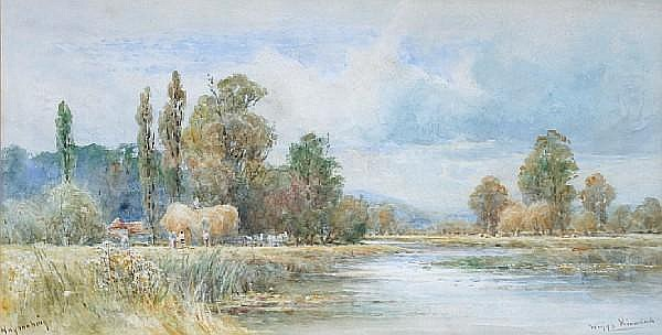 Wiggs Kinnaird (British, 1870-1930) 'Haymaking' - a river landscape with figures loading haywain,
