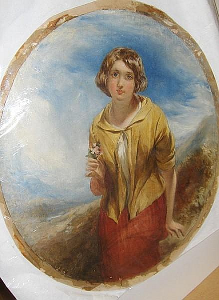 Thomas Crane (British, 1808-1859) Portrait of a young woman holding a posy, a landscape beyond