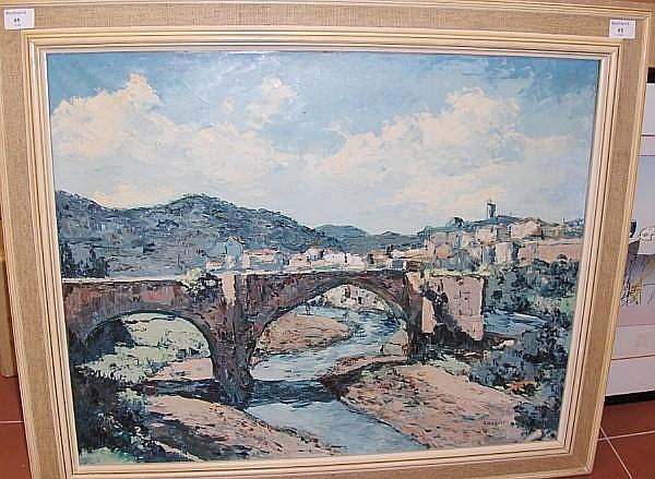 Enrique Koscaya (Russian, 1901-1970) Besalu, Spain, signed, oil on canvas,