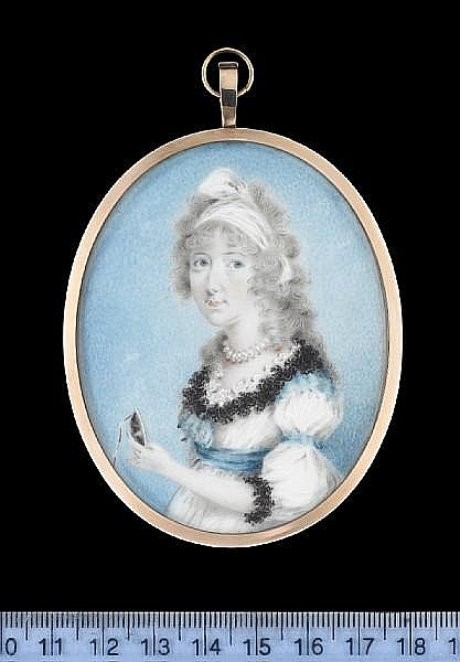 Archibald Skirving (Scottish, 1749-1819) A Lady, wearing white dress trimmed with blue ribbon at the waist, corsage, upper arm and shoulder, black and white lace trim around the neckline and black lace cuff, beaded necklace and white bandeau in her