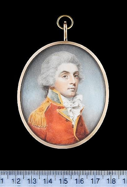 Charles Shirreff (Scottish, b. circa 1750) An Officer, wearing scarlet coat with gold edged green facings and gold epaulette, his powdered wig worn en queue