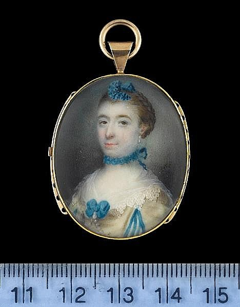 Samuel Collins (British, circa 1735-1768) A Lady, wearing cream dress, the sleeves with blue trimmed slashes to reveal striped blue and white, white lace collar held with blue ribbon bow and pendent pearl, strands of pearls from her corsage, blue