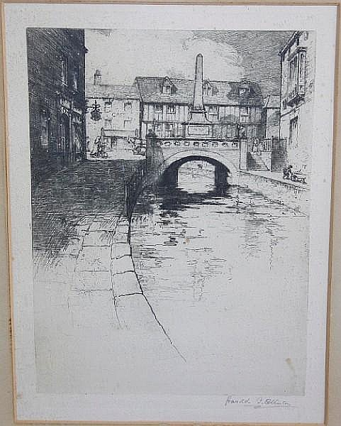 Harold M. Collinson (British, born 1886) Canal scene, etching, signed in pencil, 36 x 26cm; together with three other etchings by the same hand. (4)