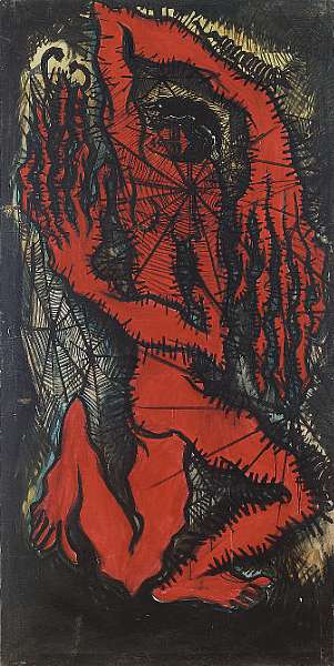 Sadequain (1937-1987) Red Couple-Cobweb Series