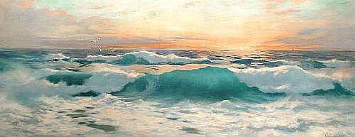 Baragwanath King (British, born 1864) Sunset over the waves