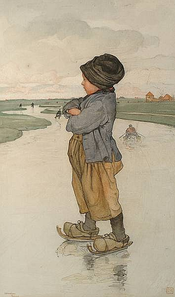 Nico Jungmann (Dutch, 1872-1935) The young ice skater