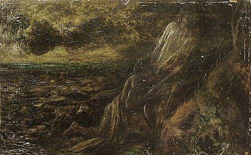 James Smetham (British, 1821-1889) A figure in distress by the shore
