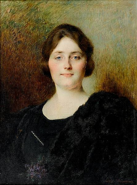 Serkis Diranian (Turkish, born 1860) Portrait of a woman holding flowers 73.7 x 53.3cm (29 x 21in)