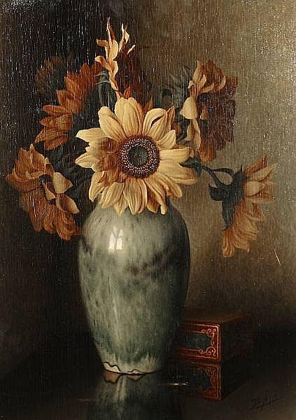 Bernardus Arps (Dutch, 1865-1938) Still life of a vase of sunflowers