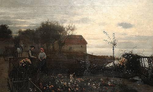 Karl Bennewitz Von Lofen (German, b.1856) Evening in the garden