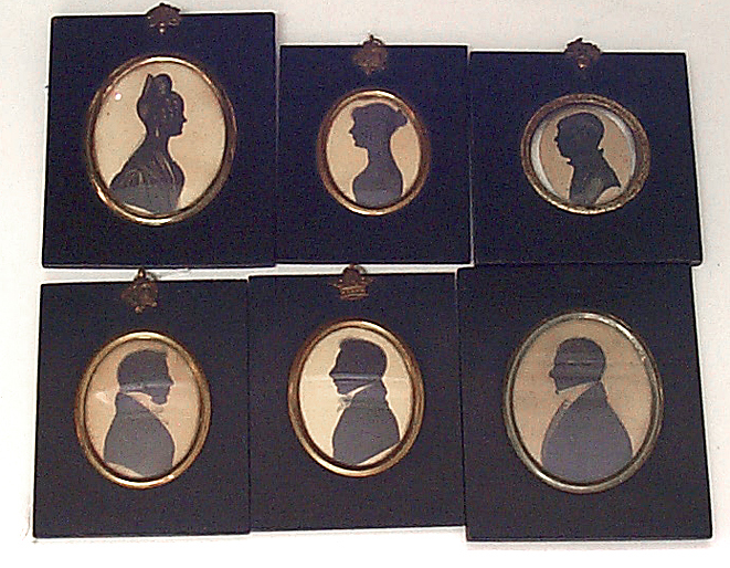 J. H. Gillespie (British, fl. 1810-1838) : 3 profiles: Miss Ashburnum and 2 Gentlemen, all with trade labels & three other profiles (6)