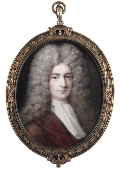 Peter Crosse (British, c.1650-1724): A superb portrait of Sir Richard Steele, wearing full-bottomed powdered wig and burgundy robes (s)