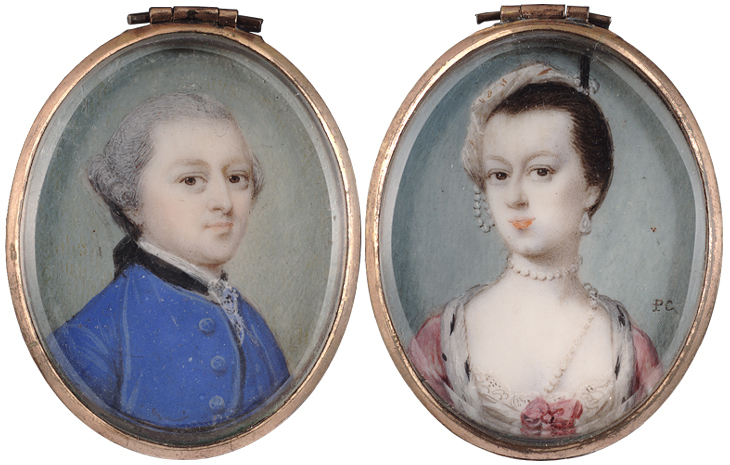 Penelope Carwardine (British, c.1730-c.1800): A double sided miniature of the 6th Earl and Countess of Coventry (n'e Maria Gunning) (s)