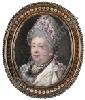 Samuel Cotes (British, 1734-1818): A middle-aged Lady, wearing white lace bonnet with mauve ribbon, white dress with mauve bodice (s/d), Samuel Cotes, Click for value