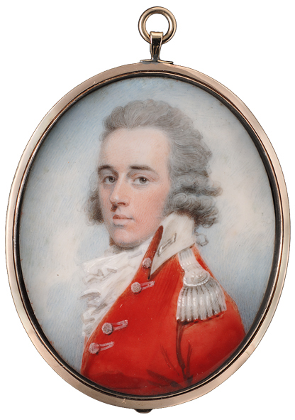 Charles Shirreff (Scottish, b.circa 1750) : A fine portrait of a Cavalry Officer wearing scarlet uniform with white facings & epaulette