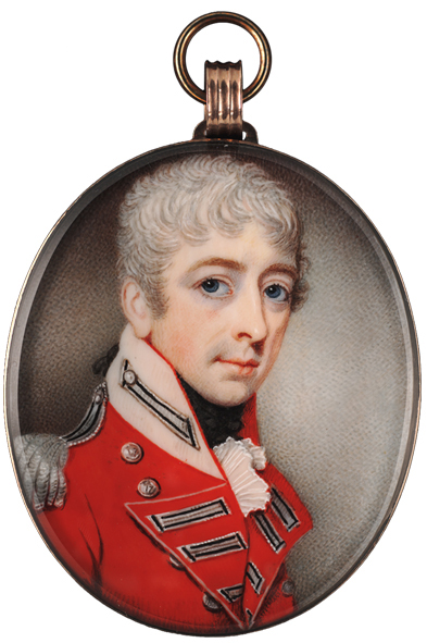 John Comerford (Irish, c.1770-1832) : Charles Roper Mosely, the artists uncle, wearing the scarlet uniform of the 17th Foot (s)