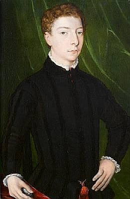 Circle of Agnolo Bronzino (Monticelli 1503-1572 Florence) Portrait of a young gentleman, half-length, in a black tunic, standing before a green curtain