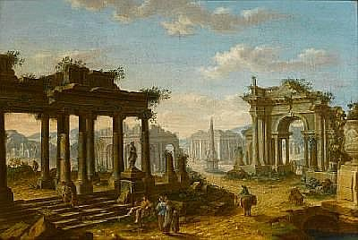 Circle of Josef Platzer (Prague 1751-1806 Vienna) A capriccio of ruins 86.4 x 127 cm. (34 x 50 in.)