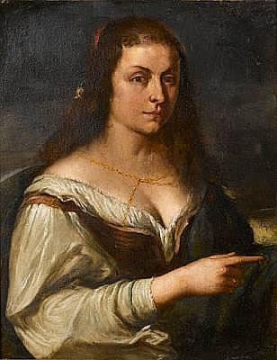 Circle of Orazio de Ferrari (Voltri 1605-1657 Genoa) Portrait of a young woman, half-length,