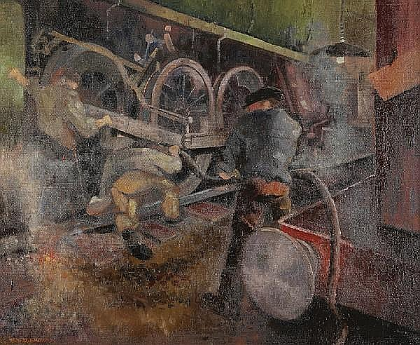 Neil Dallas Brown, ARSA (British, 1938-2003) Train engineers