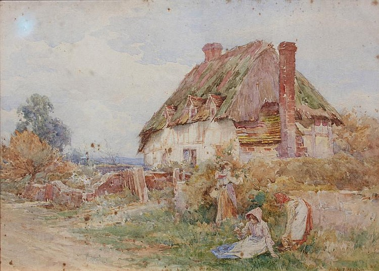 William Frederick Measom (American, born 1875) 'Cottage at Pulborough' 25 x 35cm.