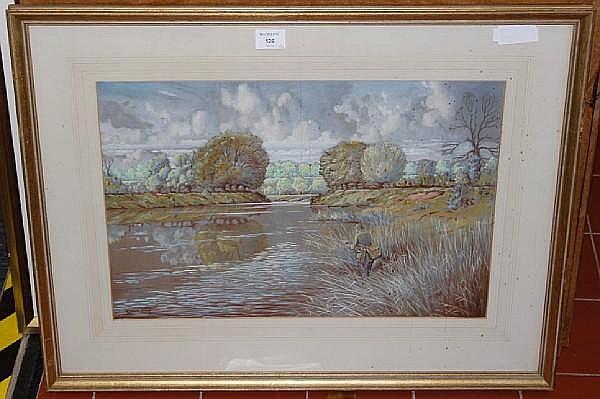 Eric Meade-King (British, born 1911) Fishermen in river landscapes