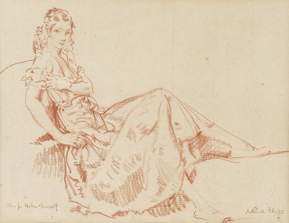 Sir William Russell Flint, RA, PRWS (British, 1880-1969) 'A little sketch of Helen, for Helen'