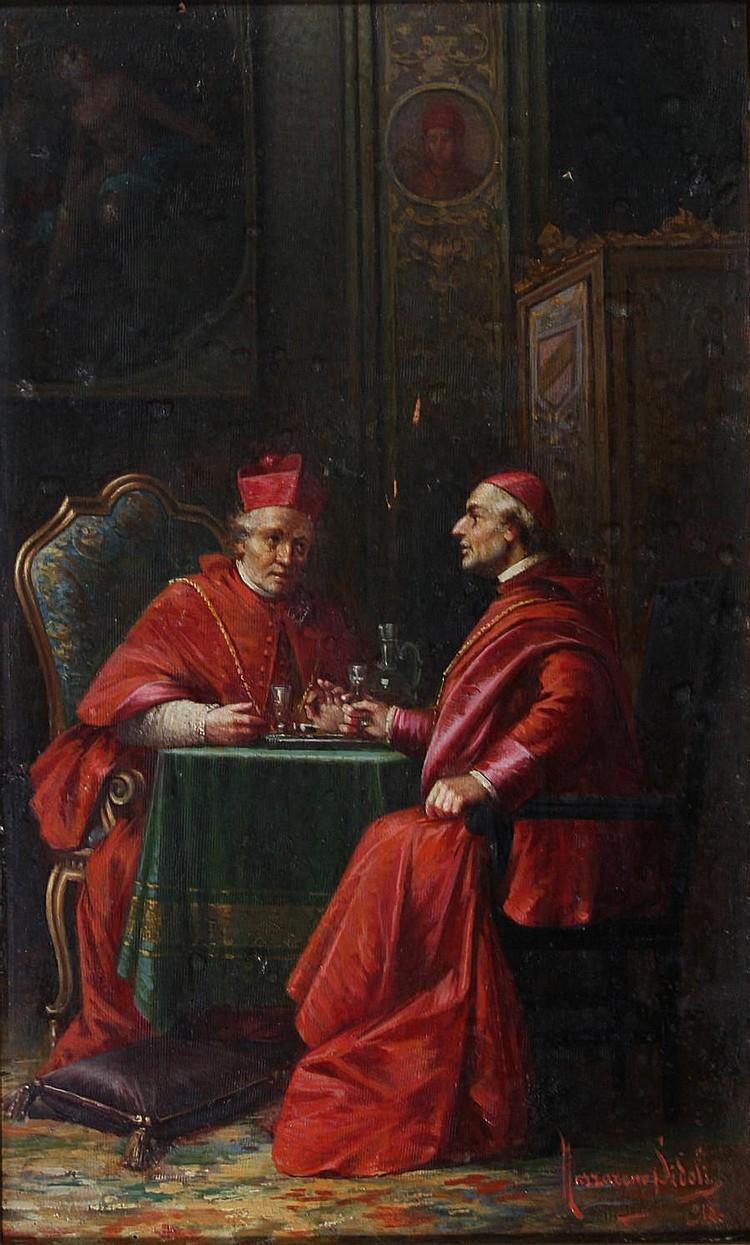 Nazzareno Sidoli (Italian, 1879-1970) Bishops conversing over wine 39.5 x 25cm.