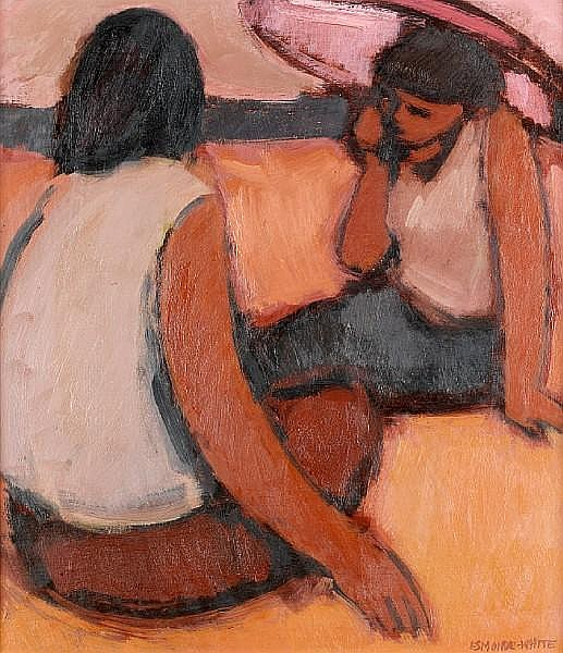 Eleanor Esmonde-White (South African, 1914-2007) Two girls on the beach