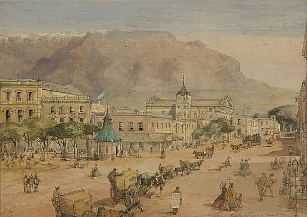 Thomas William Bowler (British, 1812-1869) Adderley Street and the Dutch Reformed Church, Cape Town